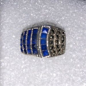 Lapis Lazuli & Marcasite Ring Sterling Silver 6.5